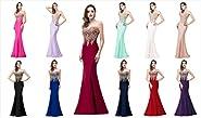 Babyonline Women's Lace Applique Long Formal Mermaid Evening Prom Dresses