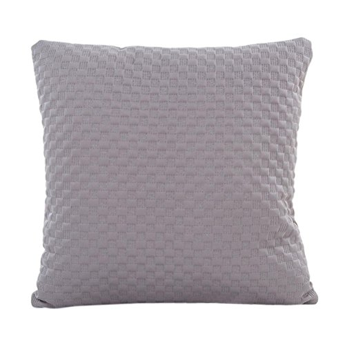 Price comparison product image Pillow Case, Woaills Solid Square Waist Throw Cushion Cover 17x17 Pillowcase with Zipper (Gray 2)