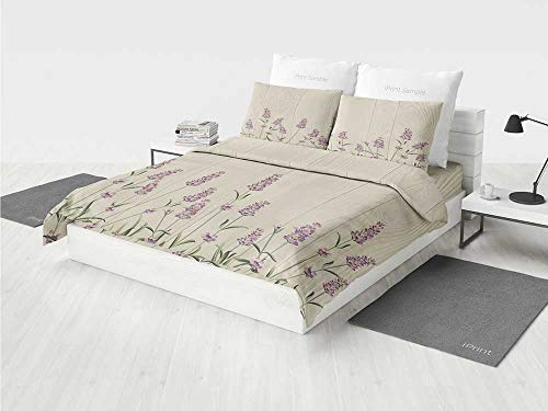 - Lavender elmo Bedding Set Aromatic Herbs on Wooden Planks Springtime Nature Botany Illustration Printing Four Pieces of Bedding Set Beige Lilac Sage Green