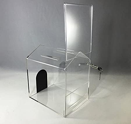 FixtureDisplays 6PK AcrylicSmall-House Shaped Donation Box with A CAMLOCK 14706G-6PK-NF