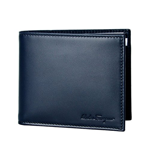 Salvatore Ferragamo Men's Navy Blue Leather Bifold Wallet