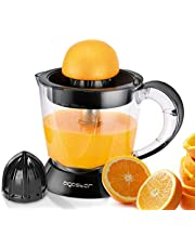 Aigostar Thomas Elektrische citruspers, 40 W, capaciteit 1 l, BPA-vrij, sap sinaasappel citroen grapefruit, 2 verwisselbare kegels, hoeveelheid vruchtvlees, 2-weg rotatie, zwart
