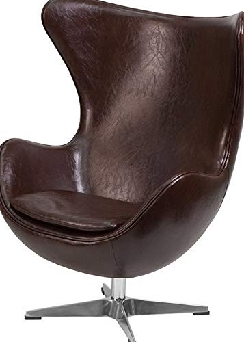Terrific Amazon Com Mikash Brown Leathersoft Egg Chair With Tilt Andrewgaddart Wooden Chair Designs For Living Room Andrewgaddartcom