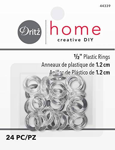 Plastic Split Rings - Dritz Home 44339 Plastic Rings, 1/2-Inch, Clear (24-Piece)