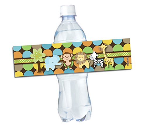 50 Water Bottle Labels - (Self-Stick, Waterproof 8x2) King of Jungle Animal Themed (50-Labels)