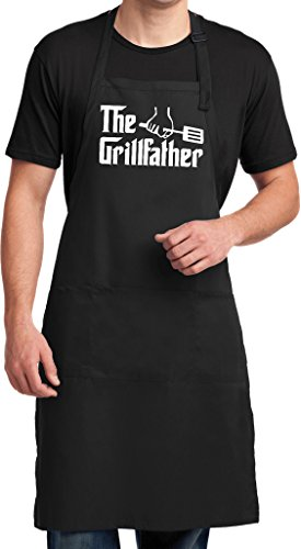 Buy Cool Shirts Mens The Grillfather (White Print) Full Length Apron with Pockets, Black