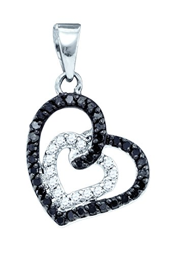 Jewels By Lux 10k White Gold Black Colored Round Pave-set Diamond Womens Open-Center Heart Pendant 1/3 Cttw (I1-I2 clarity; Black - Black Center Heart