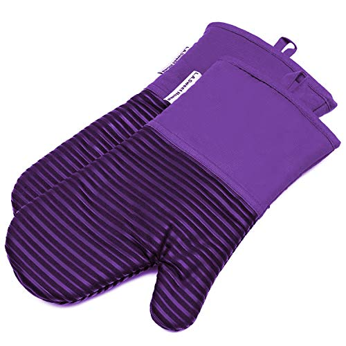 464 F Heat Resistant Potholders Striped Pattern Cooking Gloves Non-Slip Grip for Kitchen Oven BBQ Grill Cooking Baking 7x13 inch as Christmas Gift 1 pair (Purple) by LA Sweet Home ()