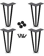 BMOT Poten voor meubilair 4-delige haarspeldtafelpoten Heavy-Duty haarspeldpoten, roestvrij, van toepassing op verschillende tafels, 10 cm tot 72 cm, 3 Rods, zwart (15 cm)