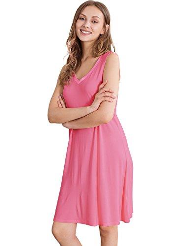 GYS Womens Bamboo Viscose Sleeveless V Neck Nightgown (XXL, Raspberry Pink)