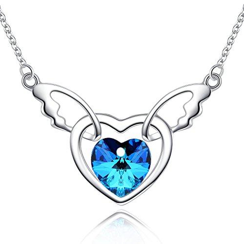 BriLove Women 925 Sterling Silver Angel Wing Cupid Open Heart Shape Pendant Necklace Adorned with Swarovski Crystals Bermuda Blue (Open Swarovski Wing)