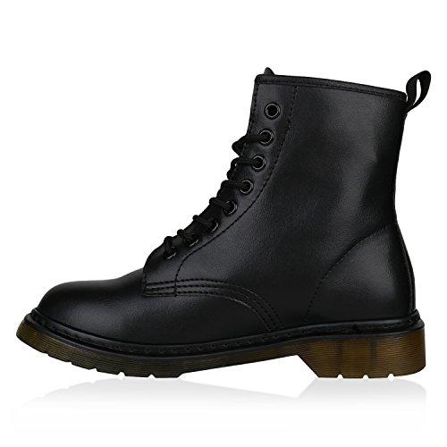 Stiefelparadies Damen Stiefeletten Worker Boots Profilsohle Flandell Schwarz Black Bernice