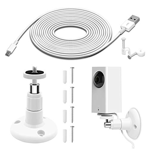 Wall Mount for Wyze Cam Pan Security Camera with 26FT Charging Cable, Wyze Cam Pan Mounting Kit Including Charging and Data Sync Cord, 360 Degree Adjustable Ceiling Mount, and 30 Wire Clips (Mount Kit Ceiling Mounting)