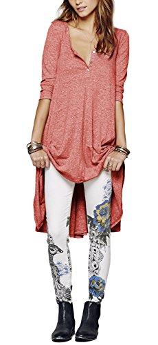 Urban GoCo Mujeres Talla Grande Camiseta con 3/4 Mangas Largas Casual Blusa Del Dobladillo Irregular Rojo