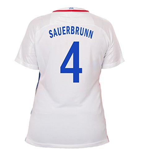 (Nike Sauerbrunn #4 USA Home Soccer Jersey Rio 2016 Olympics Women's (M))