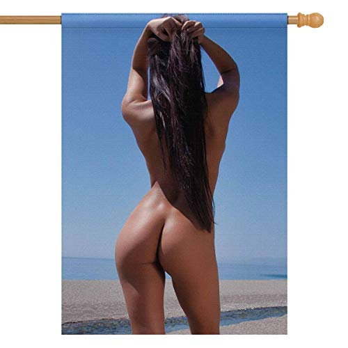 InterestPrint Sexy Brunette Beautiful Naked Woman Posing Nude on The Beach House Flag House Banner, Decorative Yard Flag for Wishing Party Home Outdoor Decor, 28