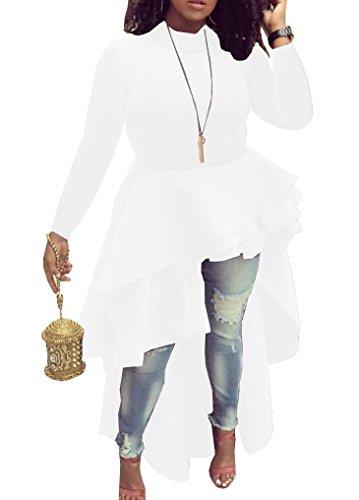Memorose Womens Ruffle High Low Asymmetrical Long Sleeve Bodycon Tops Blouse Shirt Dress WhiteLong 2XL