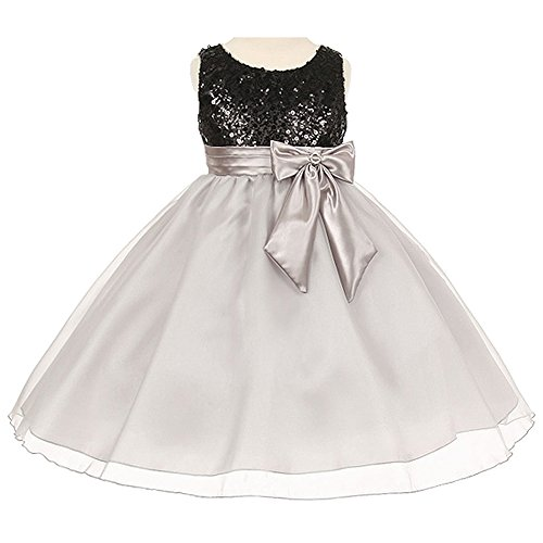(Big Girls Dazzling Sequin Organza Piping Around Neck and Sleeve Lines Flower Girl Dress Black Silver - Size 8)