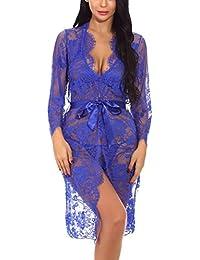 Women s Sexy Lace Long Robe Lingerie Set(4 Pieces) 752ef5142