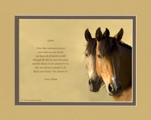 Personalized Retirement Gift. Horses Photo with Retiree Best Wishes Poem, 8x10 Double Matted. Unique Retiring Gift for men, women, coworkers, friends or family retirees.