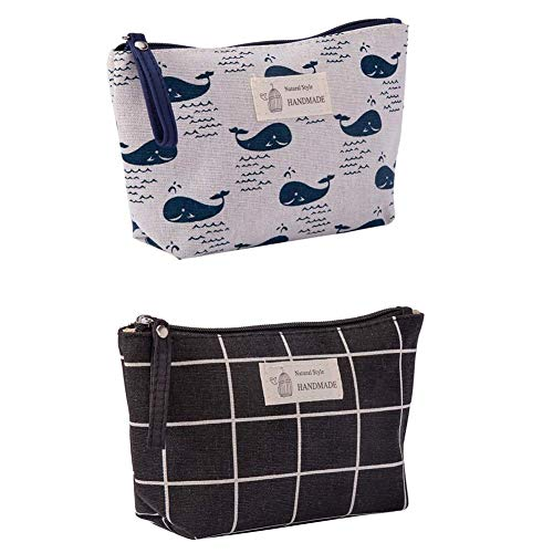 Canvas Large Makeup Bag Pouch Purse Coin Bag Cosmetic Organizer Multifunctional Handmade Cloth Bag for Women (21X13cm/ 8.27X5.12 Inch) (Black Grid + Whale)