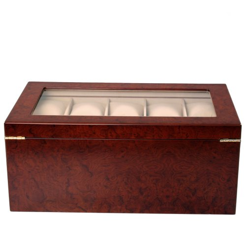 Watch Box for 20 Watches XL Extra Large Compartments Fits 65mm Soft Cushions Clearance (Cherry) by Tech Swiss (Image #2)