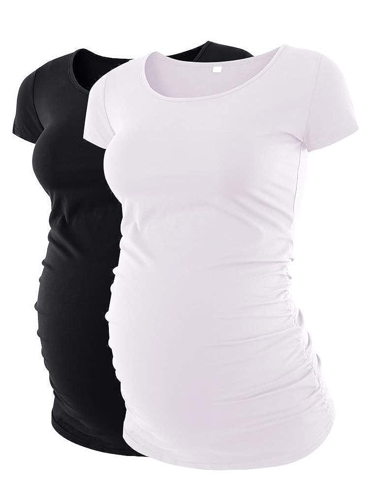 Liu S & & Qu マタニティTシャツ トップ レディースサイド絞り妊娠服 トップ クラシック B077XQHZS6 S|ブラックホワイト ブラックホワイト S, パーツキング:8f10359a --- piairservices.eu