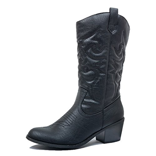 (West Blvd Miami Cowboy Western Boots, Black Pu, 11)