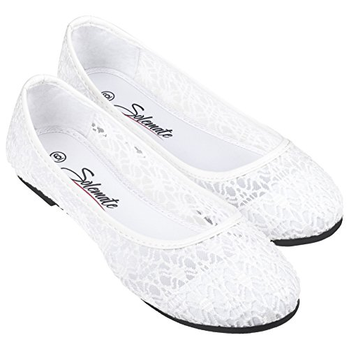 Crochet Comfy Shoes Lace on Ballerina Slip Ballet Women's Flat Cute Loafers White RnExgqRAa