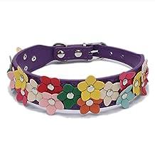 Gracefulvara Adjustable Pet Dog Collar, Flower Studded PU Leather Buckle Puppy Cat Collar (M, Purple)
