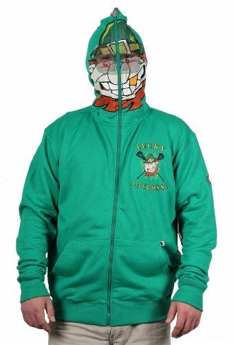Flow Society Authentic Lacrosse Gear Green Irish Lucky Ireland Leprechaun Face Zip Hooded Sweatshirt Hoodie Lax Adult Large L