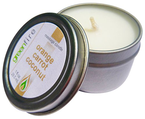 Greenfire All Natural Massage Oil Candle, Orange Carrot Coconut, Travel Size 1 Fluid Ounce