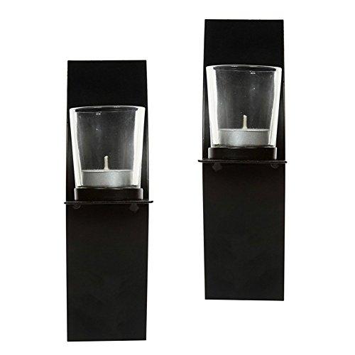Sziqiqi Iron Wall Candle Stand Scroll Design Black Sconce Su