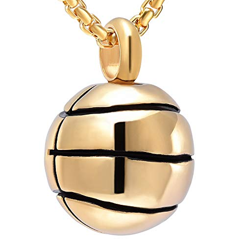 Cremation Jewelry Basketball Urn Pendant Keepsake Memorial Necklace - Including Box&Fill Kits (Gold)