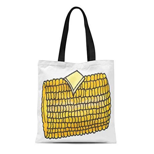 Semtomn Cotton Line Canvas Tote Bag Corncob Yellow Ear Corn Cob W Butter Picnic Food Reusable Handbag Shoulder Grocery Shopping Bags