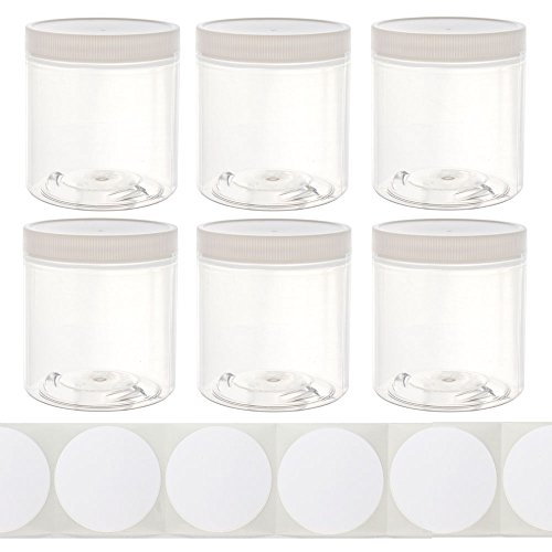 8oz Slime Glue Putty Storage Containers Jars (6 Pack) with Labels - Clear Empty Wide-Mouth Plastic containers with White lids for DIY Slime Making ()
