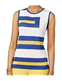 Anne Klein Womens Sleeveless Colorblock Knit Top