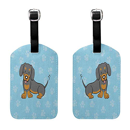 Bag Luggage Tags Dachshund,Puppy Cartoon with Happy Expression on Its Face Paw Print Background, Blue Brown Dark Taupe Luggage Suitcase]()