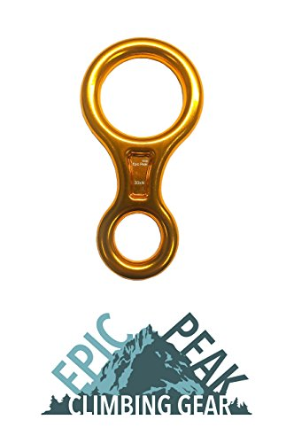 - Epic Peak Large Figure 8 Belay Device Descender for Climbing with Free Decal (Gold)