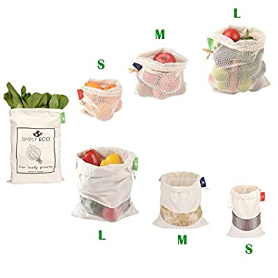 SIMPLY ECO Cotton Reusable produce bags, Mesh with drawstring for fruits and veggies, Muslin reusable bags with see through window for bulk food storage. Bag for leafy greens and lettuce (S, M, L)
