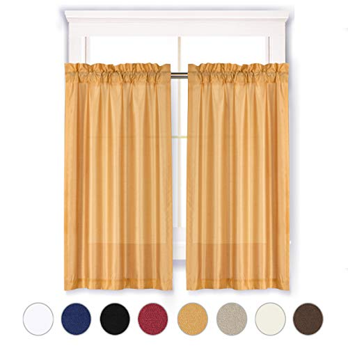 Valea Home Faux Silk Solid Rod Pocket Tier Curtains for Small Window Light Filtering Short Curtains Drape for Living Room, 2 Panels, 36 X 45 Inch per Panel, Gold (Room For Curtains Living Short)