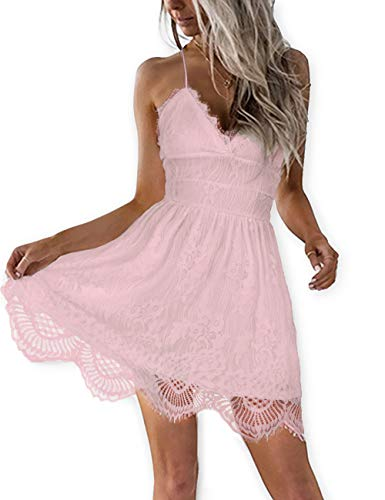 AOOKSMERY Women Summer V-Neck Spaghetti Straps Lace Backless Mini Party Club Beach Dresses (Pink, X-Small)