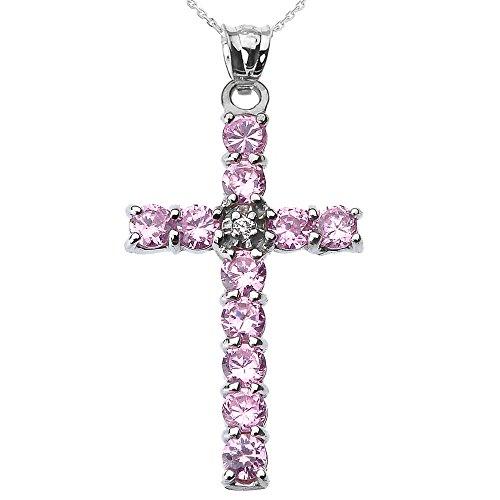 Collier Femme Pendentif 14 Ct Or Blanc Diamant et Rose Oxyde De Zirconium Croix (Livré avec une 45cm Chaîne)