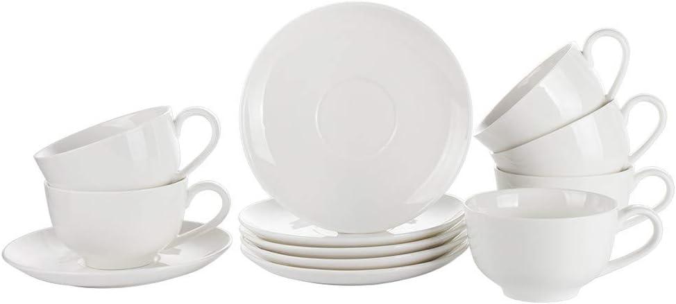 Porlien White Porcelain Cappucino Cups Coffee Cups Set of 6, 5Oz