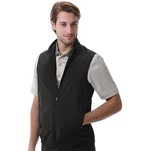 Monterey Club Mens Classic Lightweight Poplin Zip Front Solid Vest #1962 (Black, 2X-Large)