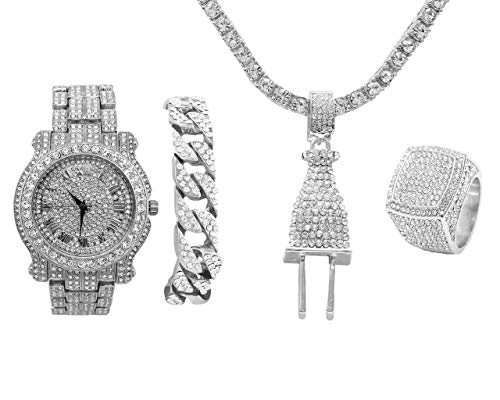 (Bling-ed Out Plug Hip Hop Pendant - Iced Out Luxury Watch Covered with Crystal Clear Rhinestones - Silver Iced Cuban Bracelet and Bling Ring Gift Set - Shine Like a)