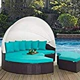 husen 4-Piece Outdoor Daybed Sectional Set Turquoise (Turquoise)