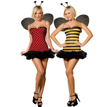 Sexy Bumble Bee Costume - Dreamgirl Women's Reversible Bumble Bee/Lady Bug Costume, Multi, Large