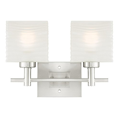 6303900 Alexander Two-Light Indoor Wall Fixture, Brushed Nickel Finish with Rippled White Glazed Glass - Two Bulb Wall Fixture