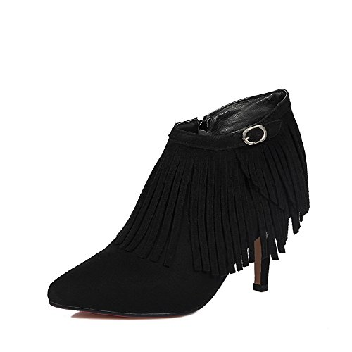 AmoonyFashion Women's Zipper Pointed Closed Toe Spikes Stilettos Frosted Ankle High Boots, Black, 41